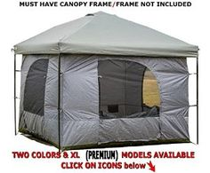 "MUST HAVE CANOPY FRAME! FRAME NOT INCLUDED The Fast Up ""Standing Room"" tent is an excellent shelter with vertical walls that most people can stand straight up in. If you are tall and want a tent with headroom, this tent has over 8 feet of height at the center, and the vertical walls allow use of the full floor space The tent and the gazebo come separately and nearly any 10'x10' (straight leg) canopy or gazebo can be used as a cover and the support for this tent."