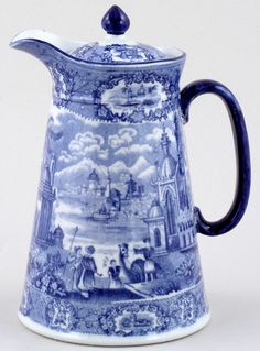 ♥ ~ ♥ Blue and White ♥ ~ ♥ H M and Co Oriental Hot Water Jug or Pitcher Blue And White China, Blue China, Delft, Blue Dishes, White Dishes, Cobalt Glass, Blue Plates, White Decor, White Porcelain