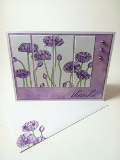 Card Kit (4) Stampin Up Pleasant Poppies Watercolor All Occasion Lovely Lilac