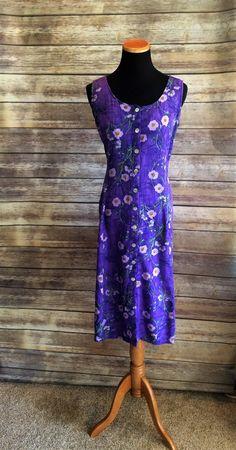 Flirty Purple 1990's Floral Print Summer Dress Medium by CobbWebbTreasures on Etsy
