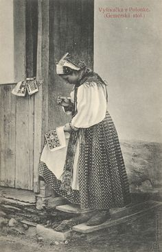 Pavol Socháň: Vyšívačka v Polomke Slovakia Ethnic Outfits, Ethnic Clothes, Goodbye Gifts, Folk Embroidery, Folklore, Old Photos, Westerns, Character Design, Retro