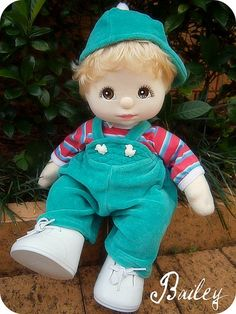 1985 Mattel My Child Doll --- Boy with Blonde Hair and Brown Eyes.