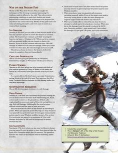 Way of the Frozen Fist version?)- An ice-themed monastic tradition : UnearthedArcana Dungeons And Dragons Board, Dungeons And Dragons Classes, Dungeons And Dragons Homebrew, Dnd 5e Monk, Dnd Classes, Dnd Races, Dnd Funny, Dnd 5e Homebrew, Dragon Memes