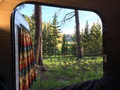 Inside looking out.  I love my teardrop camper!