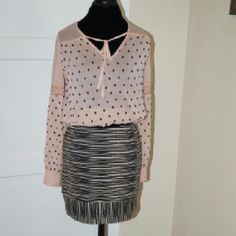 Free People taupe polka dots with black tank Size small, sheer, long sleeve, banded waist and sleeves. Great Condition...practically new! Free People Tops Blouses