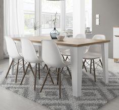 Table de salle à manger contemporaine chêne/blanc veiné mat Melanie
