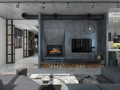 Roohome.com - Industrial loft apartment design with a modern and beautiful fireplace is very interesting for a residence. The large window set that the designer apply makes the loft space do not feel bored. It looks so stylish and amazing. Besides that, the use of whimsical art decoration and gray furniture ...