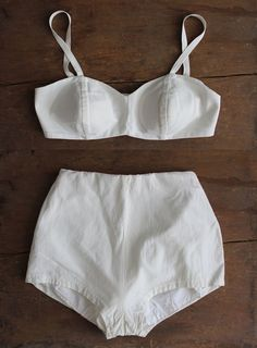 If I weren't quite so Oregon pasty. 1950s swimsuit / white 50s bikini / two piece by allencompany