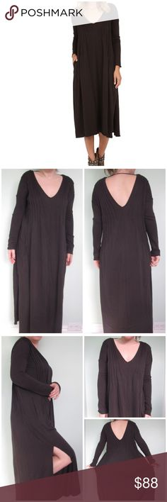 Free People Sophie maxi brown dress sz XS Free People Sophie maxi dress   *sz XS *dark brown color  *new with tags  *slits on each side  *shutter pleats frame the neckline  *midi dress *unlined  *2 pockets * * *measurements. *bust - 20in *waist - 19in *length - 48in *length of sleeves - 17in * Free People Dresses Maxi