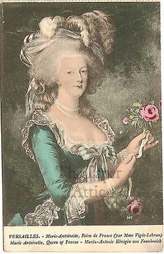 Marie Antoinette with Pink Rose Antique Vintage French Postcard