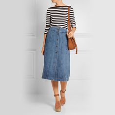 FRAME DENIM Le Panel denim skirt, with tucked in shirt for the high waisted.
