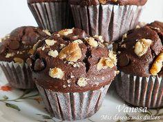 Muffins de chocolate y nueces