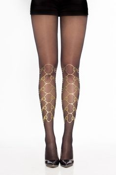 Golden hand printed tights  https://www.etsy.com/listing/206272486/gold-rings-patterned-sheer-black-gold
