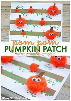 Pom Pumpkin Patch - Kid Craft Pom Pom Pumpkin Patch Craft for kids to make this fall or Halloween. A great pumpkin activity for kids!Pom Pom Pumpkin Patch Craft for kids to make this fall or Halloween. A great pumpkin activity for kids! Preschool Art Projects, Daycare Crafts, Baby Crafts, Craft Projects, Craft Ideas, Simple Projects, Art Activities, Halloween Crafts For Kids, Crafts For Kids To Make