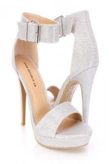 Silver Open Toe Ankle Strap High Heels Glitter