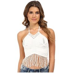 Free People Bella Coachella Seamless Fringe Halter Crop Cami Women's... (395 NOK) ❤ liked on Polyvore