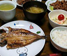 私はアジの開き。 家族は味付け焼き肉。お肉美味しそう(๑´ڡ`๑) - 31件のもぐもぐ - アジの開き&ポテトサラダ&キャベツの味噌汁 by sakachinmama