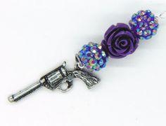 Gun and Purple Rose Vapor Charm  E Cigarette by FlutterbyCharms