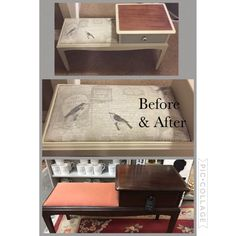 Telephone table makeover using Frenchic Creme de la Creme and Salt of the Earth. New fabric added to bring this table up to date #Frenchic