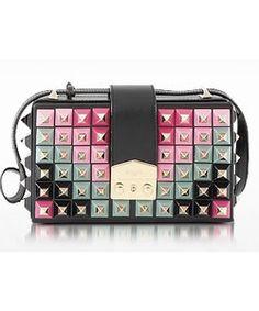 7deefee08a Lou Studs Black leather Shoulder Bag Trendy Tops