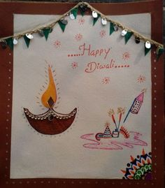 Diwali Greeting Card, Happy Diwali Card, Handmade diwali card for school project