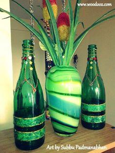 bottles+art+recycle | Wine Bottle Art Projects