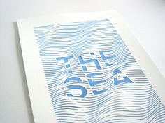 The Sea handmade abstract papercut poster white by Papercutout via etsy.