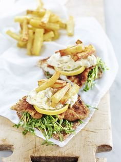 """rye bread with double-breaded plaice, fries, mayo, pickled cucumber & pea shoots. """"Repinned by Keva xo""""."""