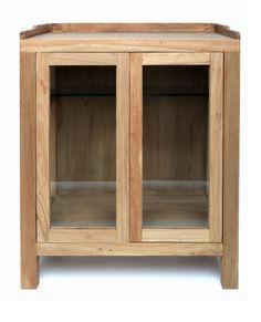 Vitrina Baja en madera de Olmo 2 puertas. Medida 60L x 40F X 70h Disponible en otros acabados