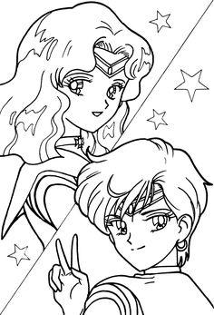 Sailor Neptune and Sailor Uranus Coloring Page // #sailormoon