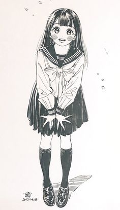 埋め込み Anime Drawings Sketches, Cartoon Sketches, Anime Sketch, Cute Drawings, Anime Art Girl, Manga Art, Manga Anime, Character Art, Character Design