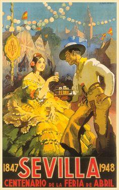Vintage publicity poster for Feria de Abril, Sevilla