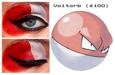 Pokemakeup 100 Voltorb by nazzara on DeviantArt Pokemon Makeup, Pokemon Halloween, Cosplay Makeup, Body Modifications, Eyeliner, Make Up, Lipstick, Random Things, Deviantart