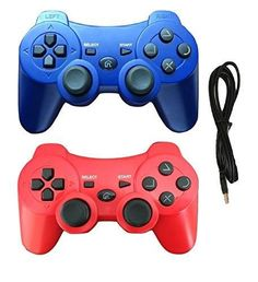 2 Pack Wireless Bluetooth Controller with Charger Cable ( Blue and Red - Compatible with Playstation 3 PS3 )