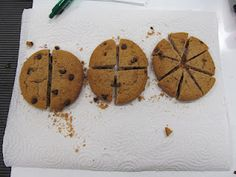 AWESOME fractions lesson! Ask the kiddos if they want 1/2, 1/4, or 1/8 BEFORE slicing cookies. Slice them under the doc cam; allow kiddos to change their minds!