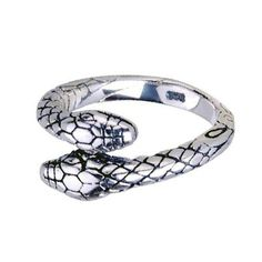Twin Snake Head Ring .925 Thai Silver Adjustable Size Fashion Jewelry