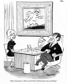 Sexual Harassment in the Workplace was Hilarious! Secretaries in Wildly Sexist Mid-Century Comics - Flashbak Playboy Cartoons, Retro Cartoons, Adult Cartoons, Funny Cartoons, Funny Cartoon Pictures, Cartoon Jokes, Vintage Humor, Vintage Comics, Comic Books Art
