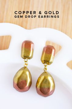 Copper & gold gem drop DIY earrings - so easy to make with Mod Molds!