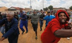 """""""Protesters block a road during clashes with police in Bekkersdal, near Johannesburg. Police, Twitter, Law Enforcement"""