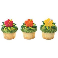 24 Hawaiian Hibiscus Flower Cupcake Rings