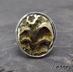 Pyritized Ammonite ring,Pyritized ring,women Soldered ring,Fossils ring,Natural Ammonite,160 million years old,Statement ring,men ring by PeagerFantasyWorld on Etsy