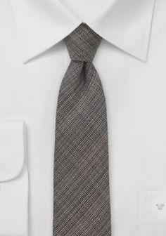 Krawatte schlank mokkabraun mit Wolle