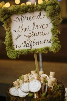 Seed favors in glass tubes.  See more seed packet wedding favors and party ideas at www.one-stop-party-ideas.com