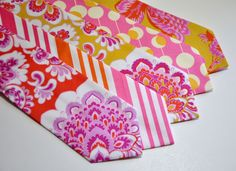 Orange and Pink Neckties for Your Wedding by MeandMatilda on Etsy, $22.95