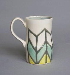 Herringbone Mug in Grey, Turquoise & Yellow. $40.00, via Etsy.