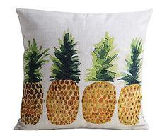 Federa per cuscino in lino e cotone multicolor Ananas II, 45x45 cm