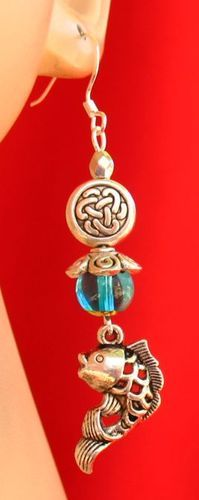 Silver Celtic Knot Fish Charm Earrings Handmade