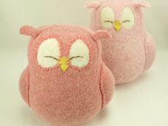 """Nursery Decor Owl Pink Sleepy Owl Recycled Felted Wool Eco Friendly Lamb Wool Stuffing Height 7"""" by ForMyDarling"""