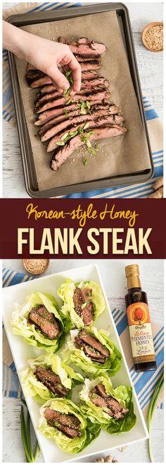 Easy and delicious Korean-style Honey Flank Steak recipe! Beef Flank, Flank Steak Recipes, Fermented Honey, Organic Raw Honey, Natural Kitchen, Kitchen Supplies, Korean Style, Green Beans, Korean Fashion