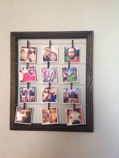 Printstagram photos in clothespin frame.